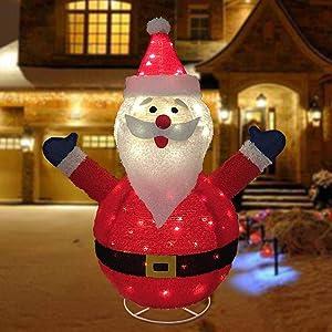 33-Inch Pre-Lit Santa and Rudolph Christmas Yard Decorati,Indoor Outdoor Yard Lawn Art Decoration