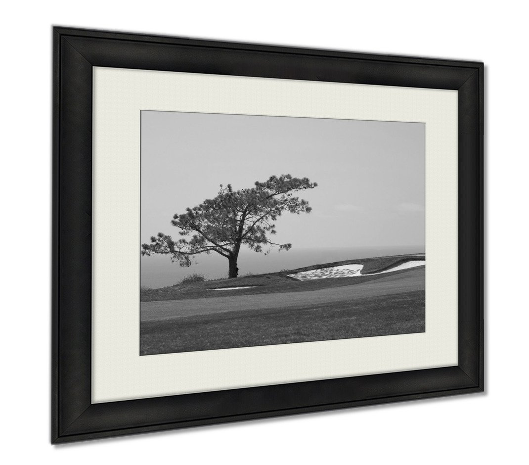 Ashley Framed Prints View From Torrey Pines Golf Course, Wall Art Home Decoration, Black/White, 26x30 (frame size), AG5597047