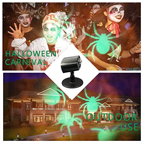 (Projector Lights, 2 in 1 Spider Pattern Motion Lightshow Landscape Spotlight LED Light for Christmas,House,Garden,Party Decoration)