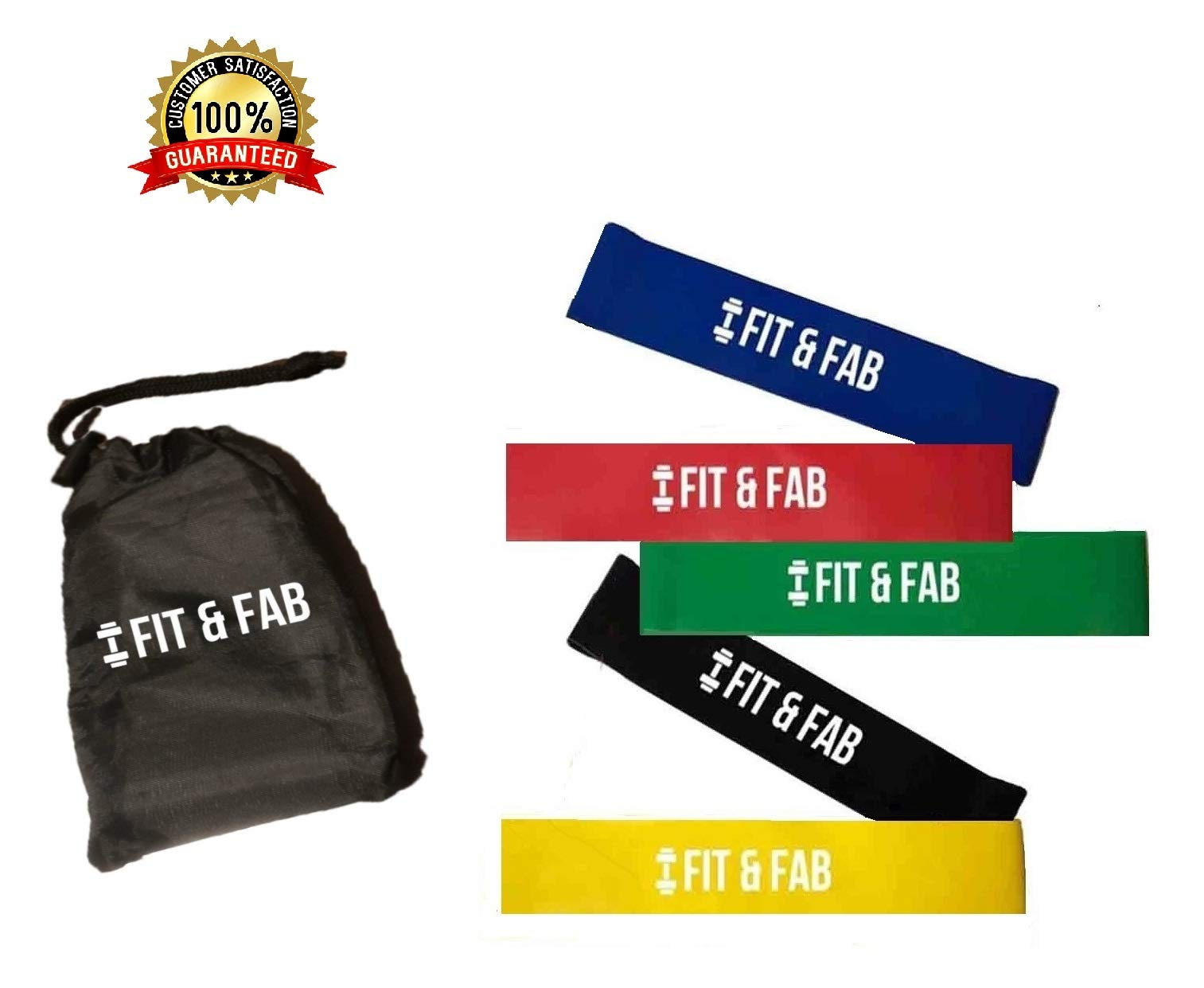 Resistance Exercise Bands - Set of 5 for Indoor Fitness, Body, Glutes, Leg, Yoga & Pilates Workouts. Uses Anti-Snap Tech. Includes Bands, FREE Carry Bag & Bonus Workout Tutorials, By Fit & Fab