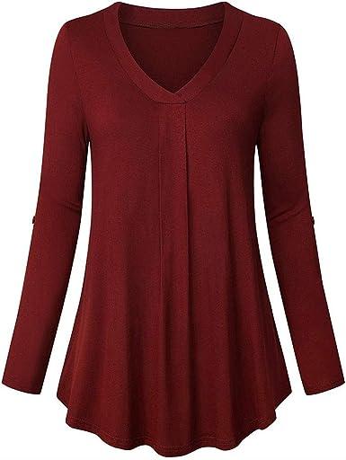Botón de Color sólido de Las Mujeres de Moda de Manga Larga Casual Camisa Suelta Camisa de Camisa Larga: Amazon.es: Ropa y accesorios