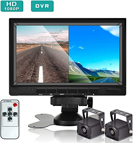 Podofo Backup Camera and Monitor Kit, HD 1080P, 7 LCD Dual Split Screen, Reversing Rear View Camera Support Color Night Vision, DVR, SD Card, IP68 Waterproof for Trucks, Trailers, RVs, Campers