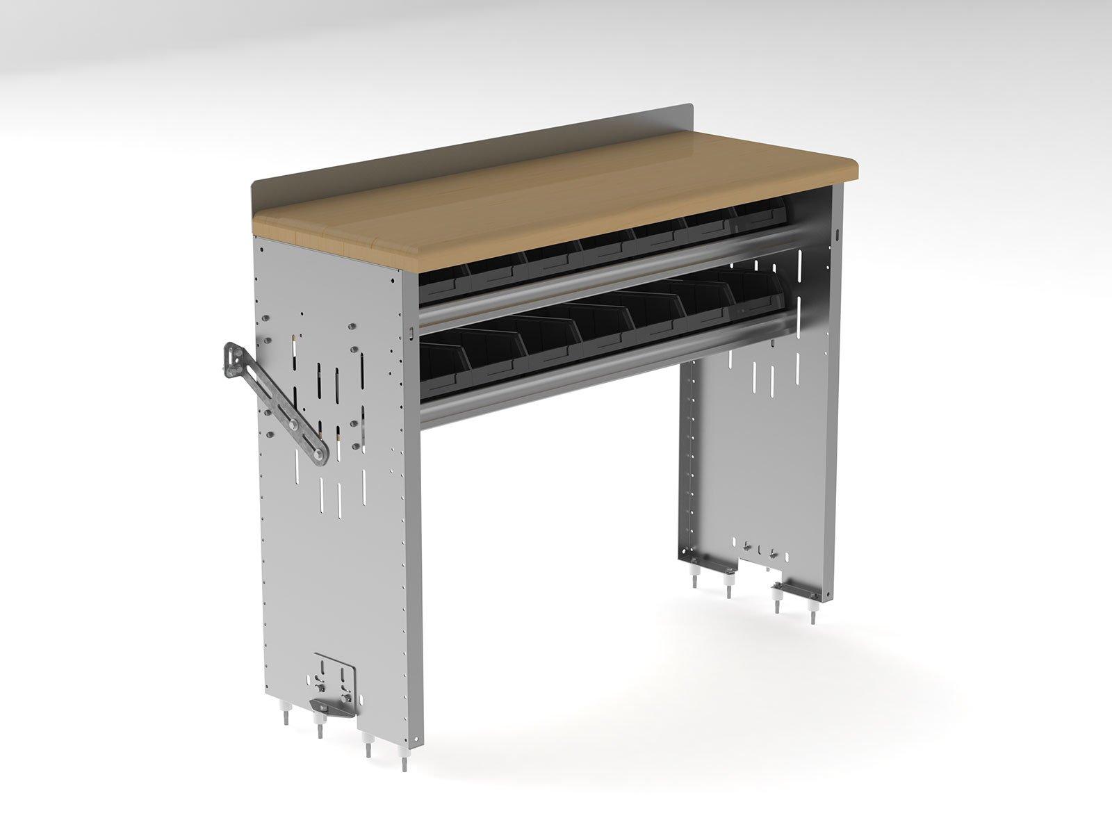Ranger Design Workbench, Aluminum w/Hardwood Top, 2 Bin Shelves, 18''d x 48''w x 36''h, 7211