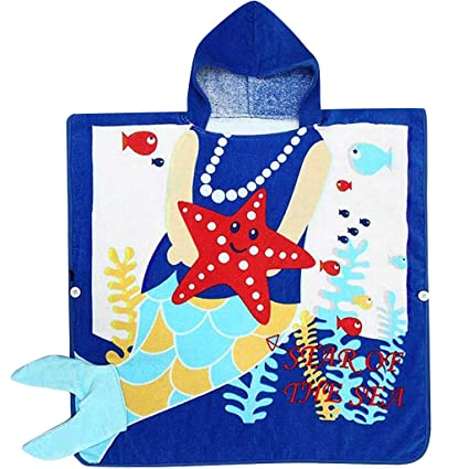 77261bbf7e Image Unavailable. Image not available for. Color  Kid Hooded Poncho Beach Bath  Towel Cotton Bathrobe ...