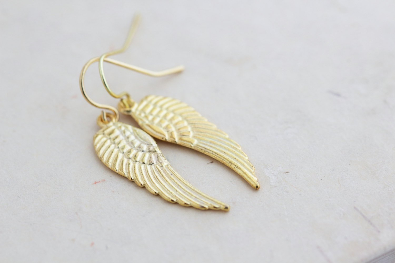 Gold Plated Angel Wing Dangle Earrings