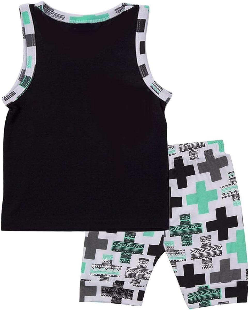Cross Shorts Clothes Set puseky 2pcs Kid Baby Boys Outfits Sleeveless Shirt