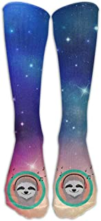 UYTGYUHIOJ Cool Sloth is Hearing Music Casual Unisex Sock Knee Long High Socks Sport Athletic Crew Socks One Size