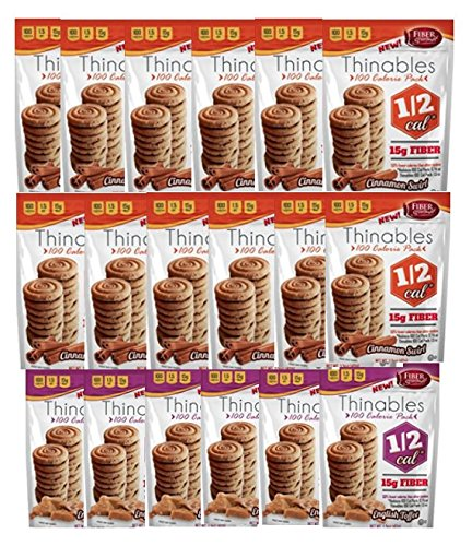 Fiber Gourmet Thinables High Fiber – Low Calorie Cookies Variety Pack (12)1.5 oz. Cinnamon Swirl & (6) 1.5 oz. English Toffee – total 18 bags