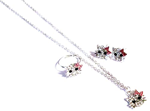 d6b3d044b Amazon.com: Hello Kitty Design Stud Earrings Necklace & Ring Jewelry ...