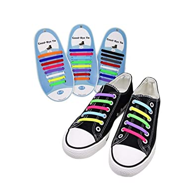 Elastic No Tie Shoe Laces Silicone Easy Flat Lazy Shoelaces For Adults Trainers