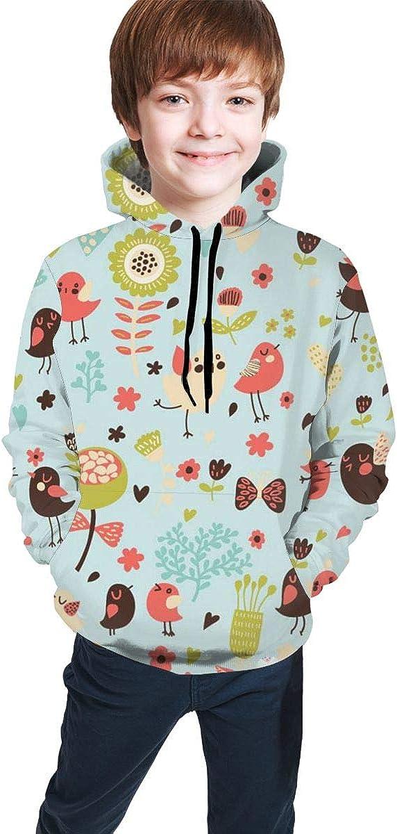 Youth 3D Print Flower Bird Grass Hooded Sweatshirt