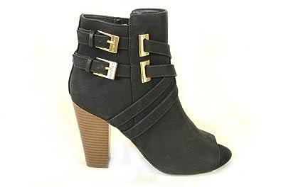 Ladies Womens Guess Block Heel Ankle Boots Double Buckle Strappy Peeptoe Zip Shoes B01MRZPGJ1