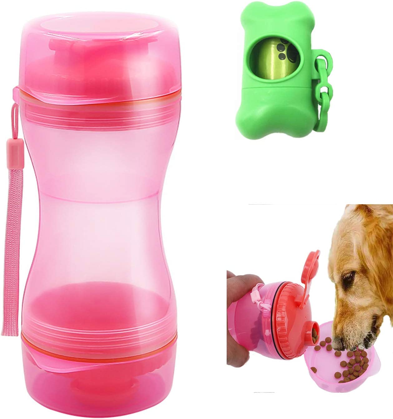GOTONE Dog Water Food Bottle for Walking Travelling Hiking Camping, 2-in-1 Portable Pet Food Container Outdoor Travel Water Dispenser Leak Proof Cup for Cat Puppy and A Dog Poop Bags + Bag Dispenser