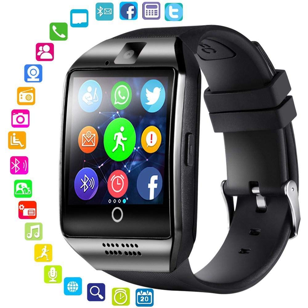 Smart Watch with Camera - Bluetooth Smartwatch with Sim Card Slot Fitness Activity Tracker - Sport Watch for Android Smartphones(Black)