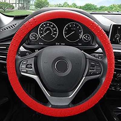 FH Group FH3002RED Red Steering Wheel Cover (Silicone W. Nibs & Pattern Massaging grip Wheel Cover Color-Fit Most Car Truck Suv or Van): Automotive