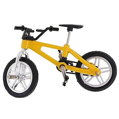 Homyl 2pcs Mini Vélo Modèle Jouet à Doigt en Alliage Cadeau de Sport pour Enfant Garçon - Vert + Jaune