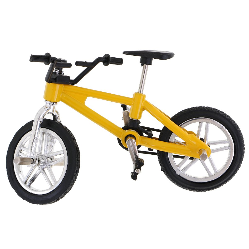 Dovewill Cool Finger Mountain Bike Miniature Metal Bicycle Model Creative Game for Children Kids Gift Yellow