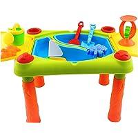 Grande table de jeu 2 en 1 pour sable/eau - enfant - avec couvercle à charnières