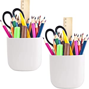 Pencil Holder - Self-Adhesive Wall Mount Pen Cup,Marker Pot,Writing Utensil Storage Organizer for Fridge,Locker,Whiteboard,Home and Office - White - 2Pcs/Set