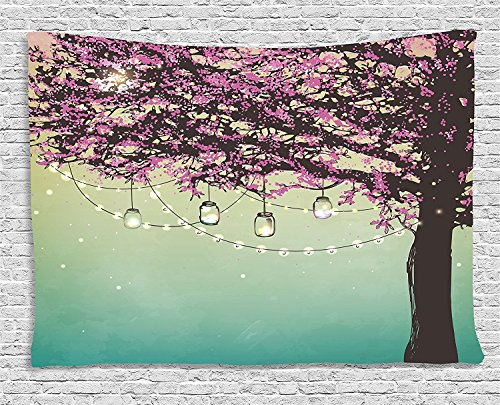 Apartment Decor Tapestry, Nature Theme The Panorama of a Forest Pattern Birds on Tree Branches, Wall Hanging for Bedroom Living Room Dorm, 80WX60L Inches, Cream Sage ()