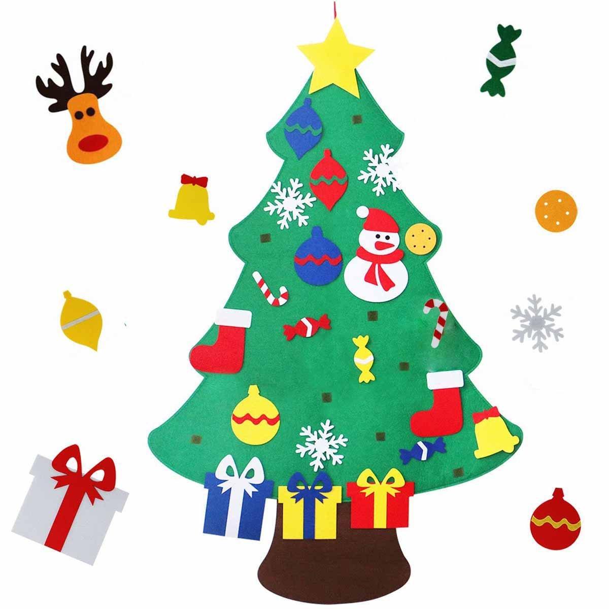 Felt Christmas Tree, MeeDoo 3.28FT DIY Christmas Tree with 30pcs Ornaments Wall Decoration for New Year Kids Christmas Xmas Gifts, Door Wall Hanging Xmas Decoration