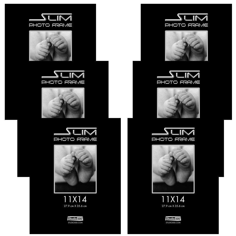 Studio 500, 11x14 The Original Slim Photo and Document Frames, Black, 6pack in Various Sizes & Quantities (6, 11x14)