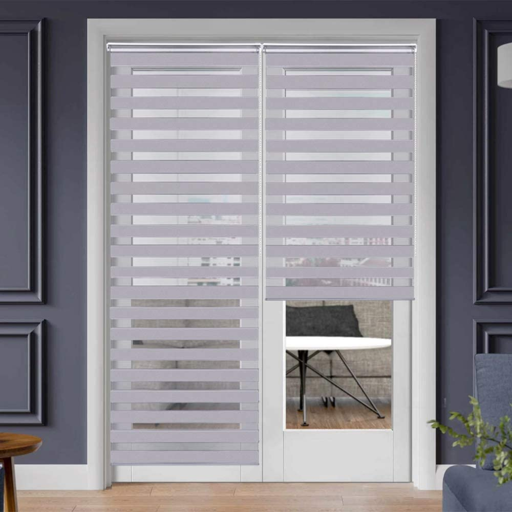 "SEEYE Zebra Shade Blinds Horizontal Window Curtain Day and Night Blind Dual Layer Shades Easy to Install 43.3"" x 90"", Grey"
