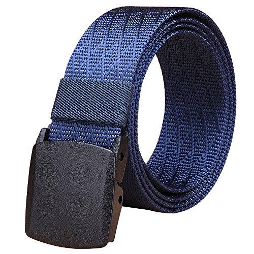Fairwin Men's Military Tactical Web Belt, Nylon Canvas Webbing YKK plastic Buckle Belt(Blue-B)