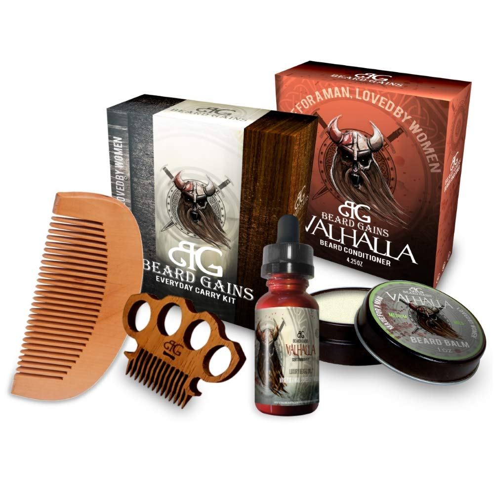 BEARD GAINS Valhalla Complete Vikings 100% Organic Scented Everyday Carry Beard Care Kit W/Beard Oil, Conditioner, Balm, Metal Mustache Comb & Wood Beard Comb | Beard Grooming Kit