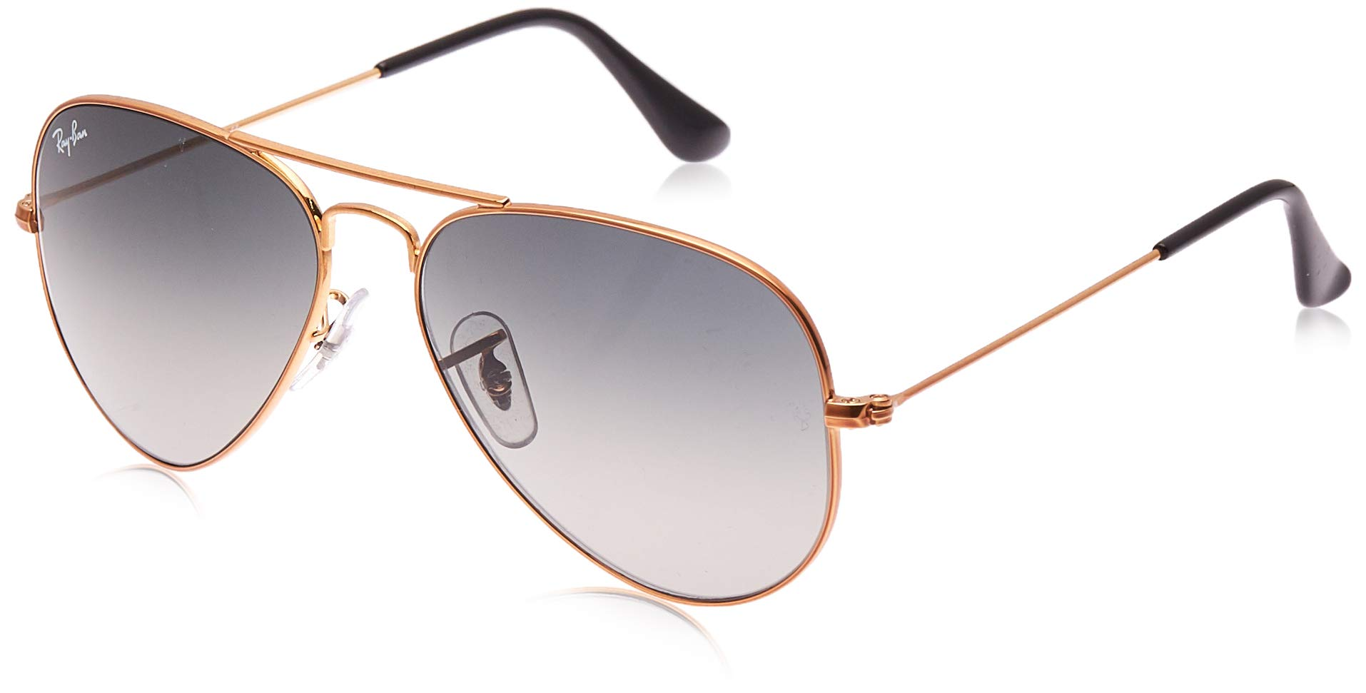 RAY-BAN RB3025 Aviator Large Metal Sunglasses, Shiny Bronze/Grey Gradient, 55 mm by RAY-BAN