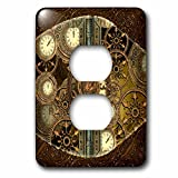 3dRose (lsp_256375_6) 2 Plug Outlet Cover (6) 2 Steampunk, Golden Design Clocks and Gears