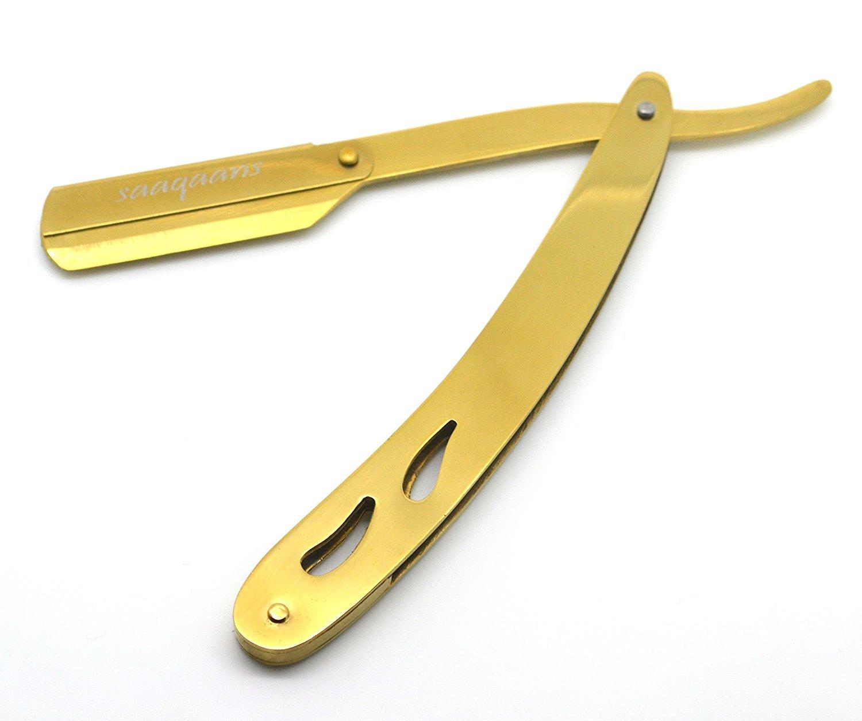 Saaqaans PBSR-01 Professional Barber Cut Throat Razor for Men with a Stylish Black Pouch (Plastic Handle Black Razor)