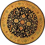 Safavieh Antiquities Collection AT14B Handmade Traditional Oriental Black Wool Round Area Rug (3'6'' Diameter)