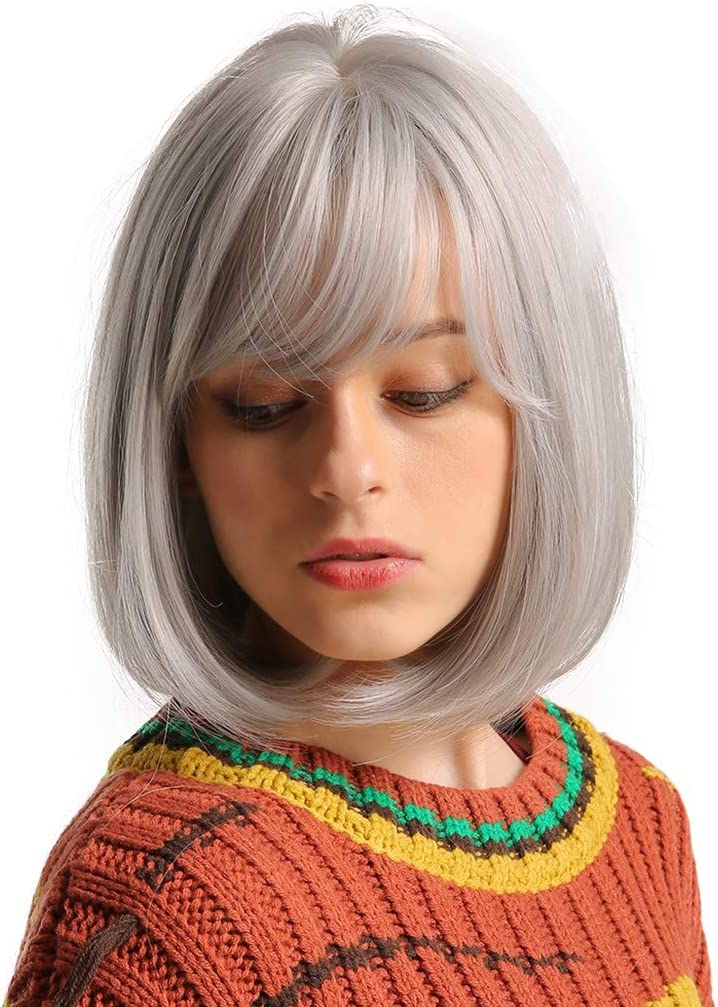 yhdcc44 Peluca de pelo corto para mujer, color gris claro ...