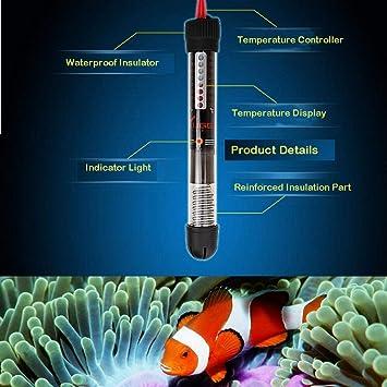KOBWA Calentador Sumergible para acuarios Termostato de Calentador de Agua para Tanque de Peces de 200W con Funda Protectora y Ventosa y Lectura Digital de ...