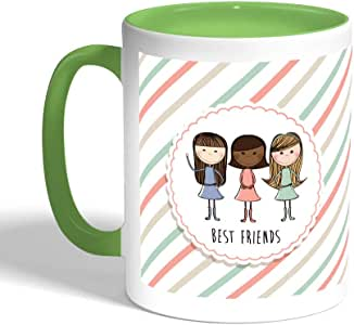 Best friends Printed Coffee Mug, Green Color