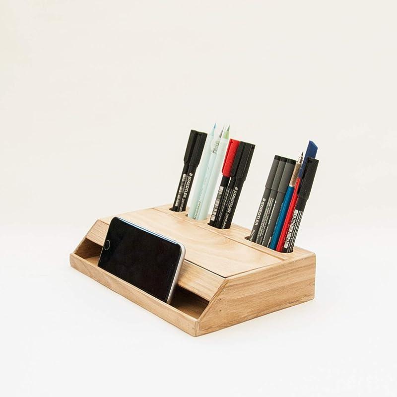 Organizador de escritorio moderno en madera natural. Portalápices y organizador de papelería para la oficina: Amazon.es: Handmade