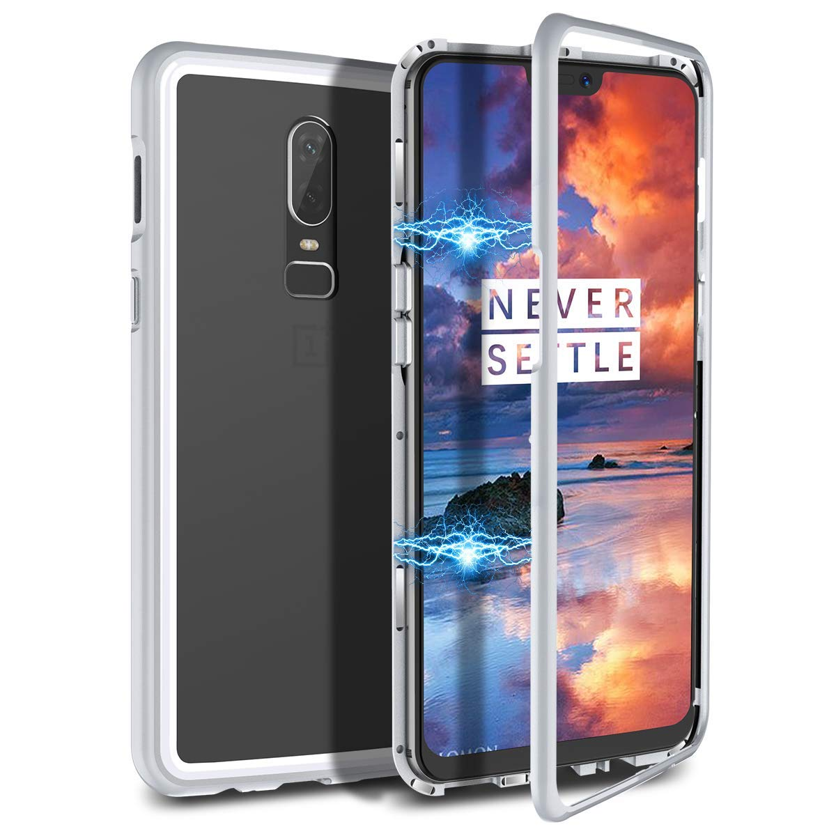 wholesale dealer ea86b febd1 Amazon.com: Magnetic Case for OnePlus 5T,Clear Tempered Glass Back ...