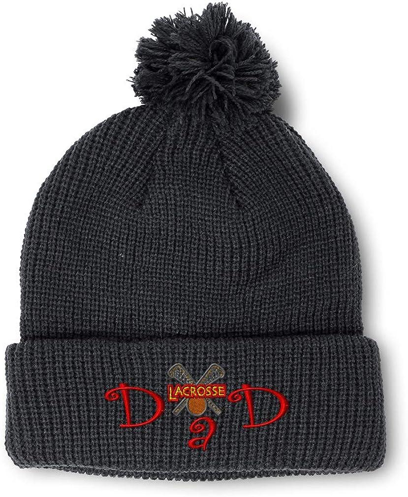 Winter Pom Pom Beanie Men /& Women Lacrosse Dad B Embroidery Skull Cap Hat 1 Size