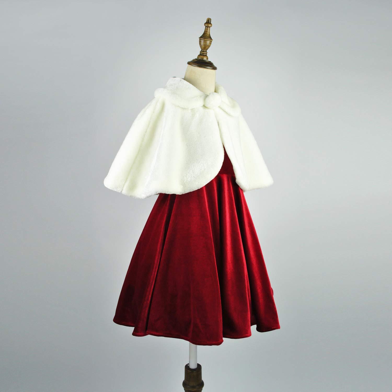Vestito da Principessa con Pompon per Bambine da 1 a 12 Anni Abbyabbie.Li a Maniche Lunghe in Finta Pelliccia