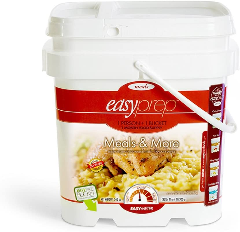 EasyPrep Meals & More 1-Month Emergency Food Storage Supply (1 Bucket, 227 Total Servings, 9 Different Entrees, up to 25 Year Shelf-Life)