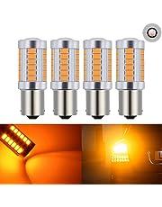 Lot de 4 ampoules LED de feux de stop arrière Katur 1157 BAY15D 5630 33-SMD - Très lumineuses - Lumière orange de 900 lumens, 8 000 °K - 12 V - 3,6 W