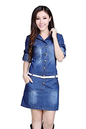 Comvison Fahshion Short Sleeve Summer Maxi Denim Dress Plus Size