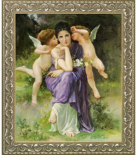 La Pastiche Hand Painted Oil Reproduction Songs of Spring 1889 by William-Adolphe BouguereauRococo Silver Frame / La Pastiche Hand Painted Oil Reproduction Songs of Spring 1889 by William-Adolphe BouguereauRococo Silver Frame