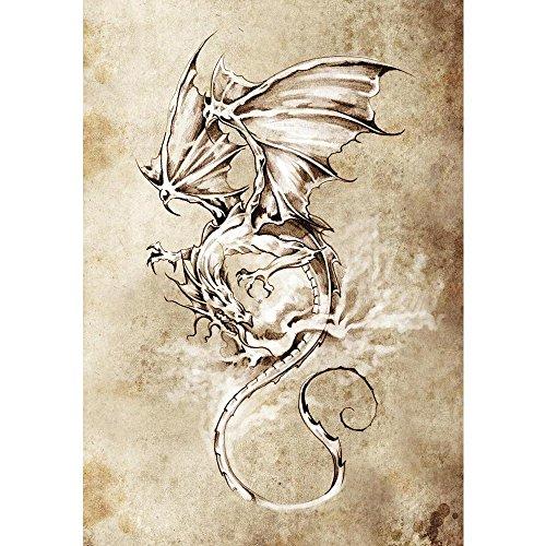 Pitaara Box Tattoo Art Classic Dragon Peel & Stick Vinyl Wall Sticker 20 X 28.7Inch