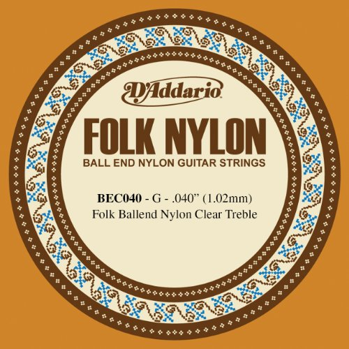 D'Addario BEC040 Folk Nylon Guitar Single String, Clear Nylon, Ball End, .040 Daddario Nylon Folk Strings