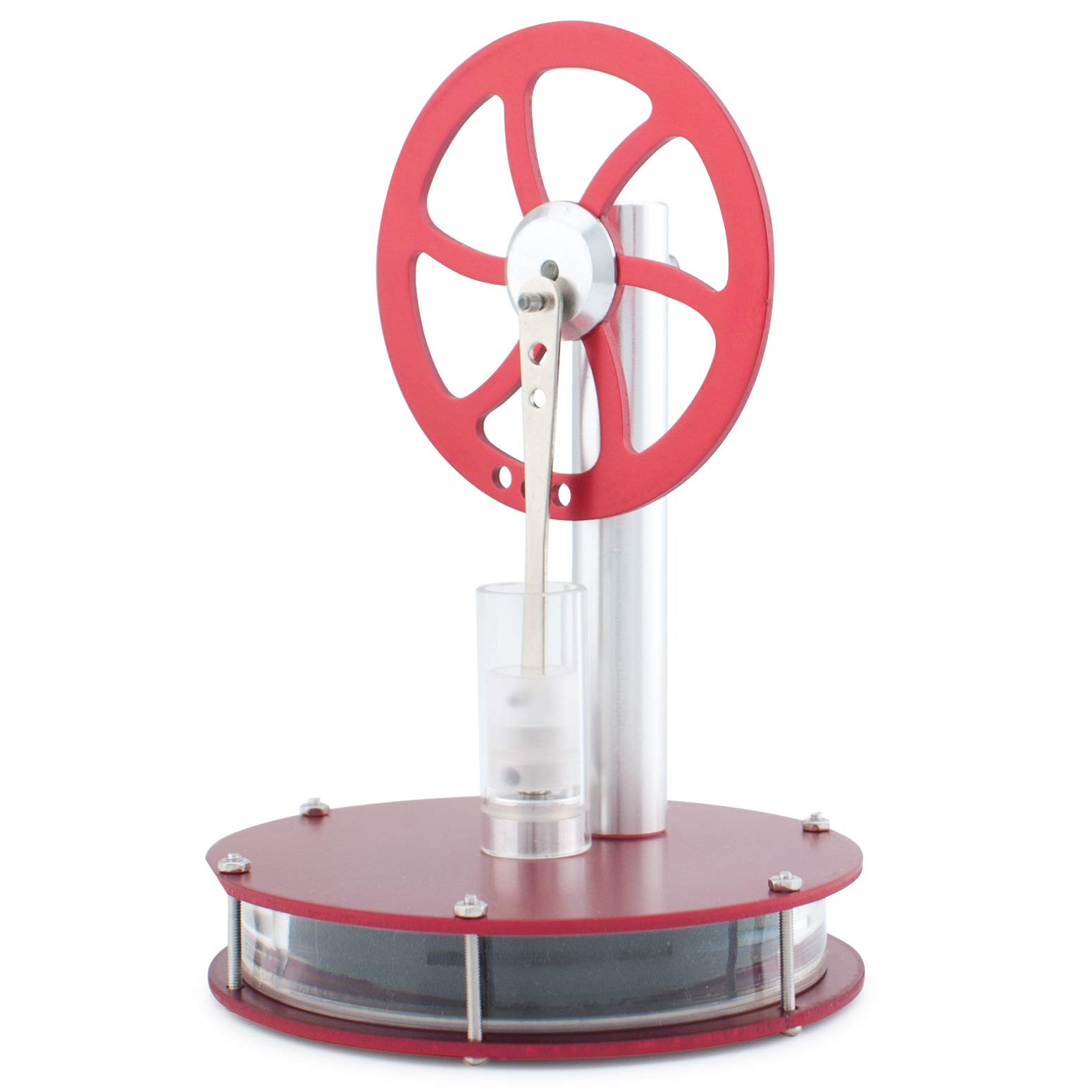 DjuiinoStar High Performance Low Temperature Stirling Engine: Rotate 1 Hour on A Mug of Hot Coffee (Red)