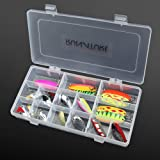 RUNATURE 12Pcs/20Pcs Trout Spinners Fishing Spoons Metal Lures Kit Colourful Multiple Fishing Spinner Artificial Baits Tackle Set for Freshwater Saltwater Fishing in Fishing Seat Box with Compartments