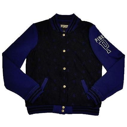 b22f8fdde9ec7 Victoria's Secret PINK Varsity Jacket Large Black Navy Blue Lace