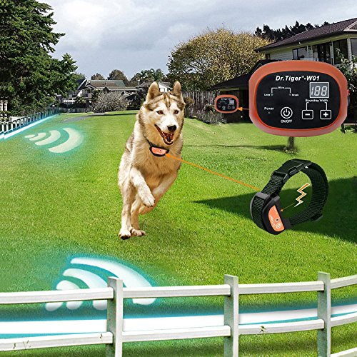 Dr.Tiger 2 Receiver Electric Dog Fence with Rechargeable Shock Collar, Wire In-Ground Invisible Dog or Cat Containment Fence System W01-G4